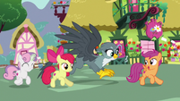 Crusaders and Gabby gallop into Ponyville S6E19
