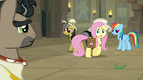 Fluttershy shocked by Caballeron's answer S9E21