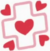 Pink cross outline with a red heart within and in each corner