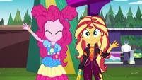 Pinkie Pie and Sunset waving goodbye EGSBP