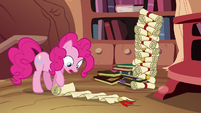 Pinkie Pie perusing genealogy scroll S4E09