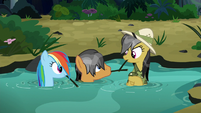 Rainbow, Quibble, and Daring emerge from the water S6E13
