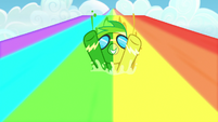 Rainbow Dash covered in green and yellow water S7E7