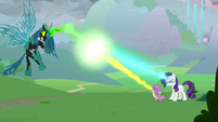 Rarity and Spike team up against Chrysalis S9E25