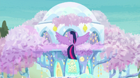 Twilight hovering in front of the treehouse S9E3