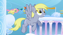 Derpy flying around in Cloudsdale cropped 2 S1E16