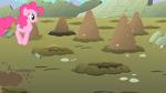 Pinkie Pie happily heading towards a hole S1E19