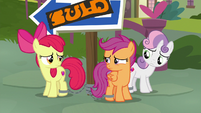 Cutie Mark Crusaders look at each other S9E12