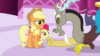 Discord scratching Apple Bloom's chin S5E7