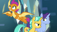 Smolder flying up to help Gallus S8E26