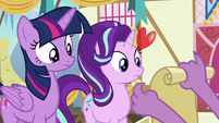 Spike shows his checklist to Twilight and Starlight S7E15