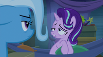 Starlight looking sleepily at Trixie S8E19