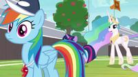 Twilight and Celestia approach Rainbow S9E15