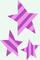Three purple-and-pink-striped stars