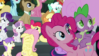 Pinkie Pie and Spike look to the sky S6E7