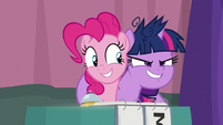 Pinkie grins blissfully; Twilight grins sinisterly S9E16