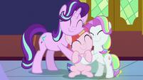 Starlight, Toola Roola, and Coconut Cream group-hug S7E14