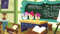 Cutie Mark Crusaders behind Cheerilee's desk S8E12