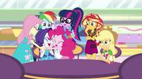 Equestria Girls hug and congratulate Rarity EGROF