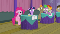 Pinkie sits back down in embarrassment S9E16