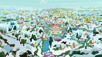 Ponyville covered in snow MLPBGE