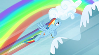 Rainbow Dash flying high up S4E10
