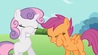 Sweetie Belle and Scootaloo shielding their eyes S2E06