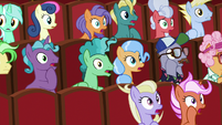 Audience ponies gasping in shock S8E5