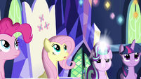 Pinkie, Fluttershy, and Twilight watch Starlight's magic S7E14