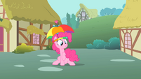 Pinkie Pie holding her twitchy tail S1E15