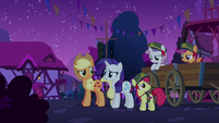 Rarity, AJ, and CMC look at each other S6E15