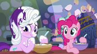 Starlight blushes as Pinkie Pie smiles S6E21