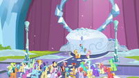 Applejack, Rainbow, and Fluttershy in front of the crowd S6E2