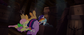 Mane Six and Spike in a pile below deck MLPTM
