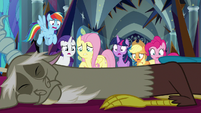 Mane Six looking over Discord's body S9E2