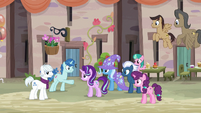 Our Town villagers happily greeting Starlight Glimmer S6E25