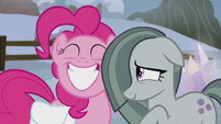 Pinkie Pie grinning; Marble bashful S5E20