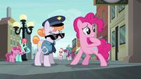 Pinkie Pie worried; Police Pony disoriented S6E3