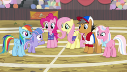RD, Fluttershy, Pinkie, and Quibble on the buckball field S9E6.png