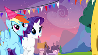 Rarity and Rainbow looking at Cheese S4E12