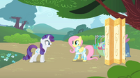 Rarity inspects Fluttershy's outfit 2 S1E20