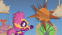 Scootaloo reaching out to the sun S1E18