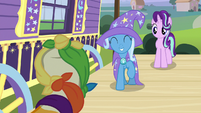 Trixie stomping her hoof in applause S7E24
