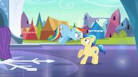Rainbow Dash intimidates stallion S3E2