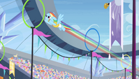 Rainbow Dash zooming through rings S4E24
