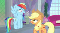 Rainbow and AJ laugh with embarrassment MLPS3