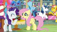Rarity, Fluttershy, and Rainbow enjoy the party S5E19
