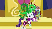 Rarity and Spike hug after Power Ponypalooza S9E19