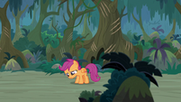 Scootaloo lowers her head in defeat S9E12