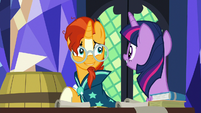 Sunburst looking excitedly at Twilight Sparkle S7E24